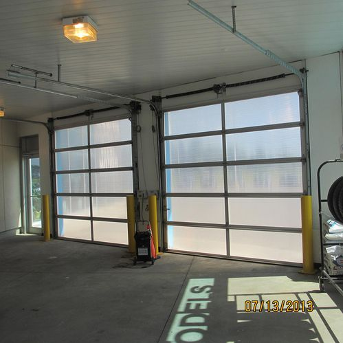 Mazda Dealer garage doors inside view
