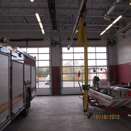 Fire Hall garage doors inside view